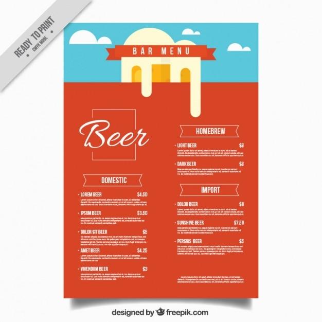 Bar Menu In Flat Design Free Vector