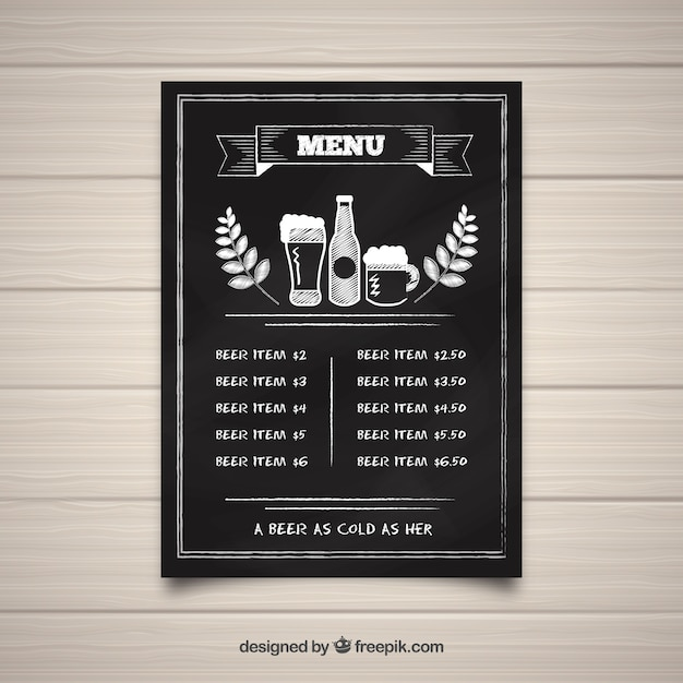 Bar Menu Template In Blackboard Style Vector  Free Download