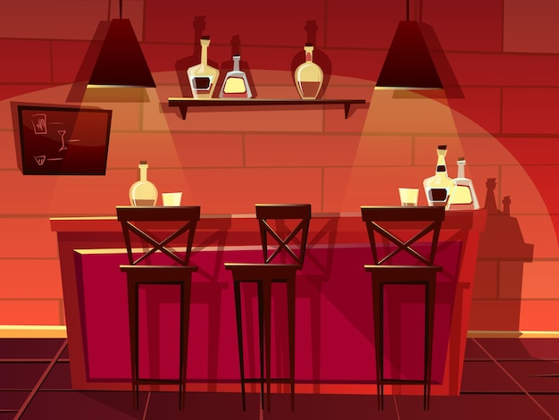 Bar or pub counter illustration. Cartoon flat front interior of beer bar with chairs Free Vector