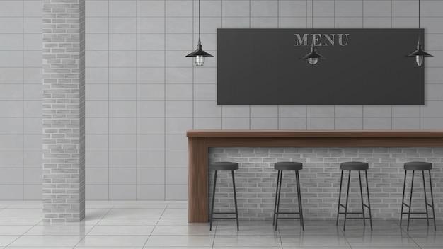 Bar or pub minimalistic design interior vector Free Vector