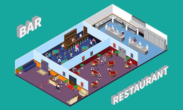 Bar restaurant isometric design Free Vector