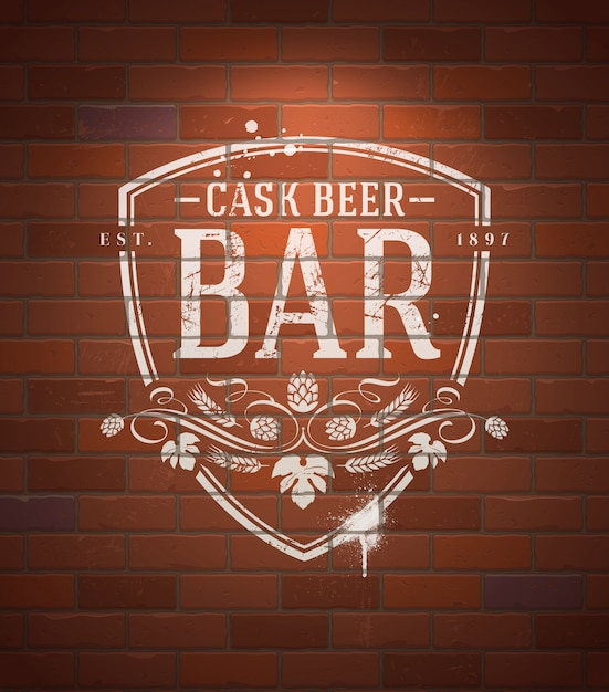 Bar sign painted with white paint on vintage brick wall Premium Vector