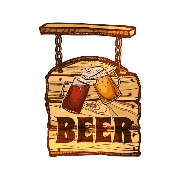 Bar sign on wooden board Free Vector