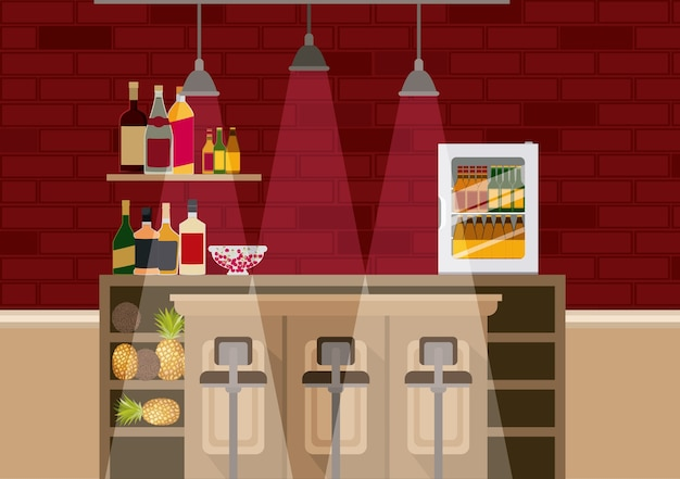 Bar with bottles liquor scene vector illustration design Premium Vector