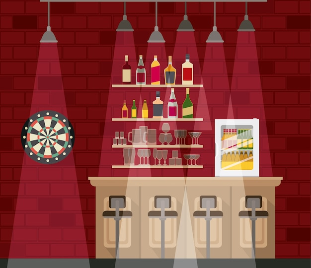 Bar with bottles liquor scene Premium Vector