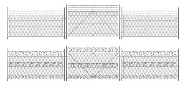 Barb wire fence, grid with gate. three segments silver colored fencing, perimeter protection barrier separated with metal steel poles Free Vector