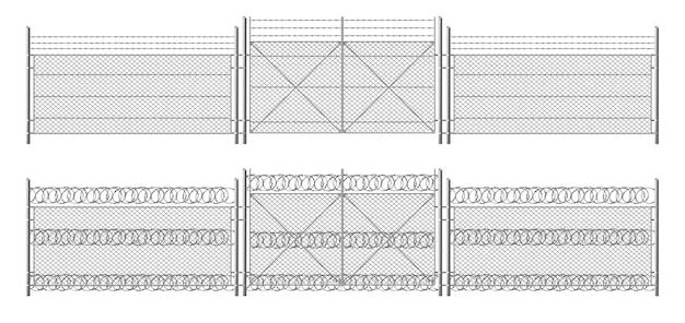 Recinto di filo spinato, griglia con cancello. recinzione a tre segmenti color argento, barriera di protezione perimetrale separata con pali in acciaio Vettore gratuito
