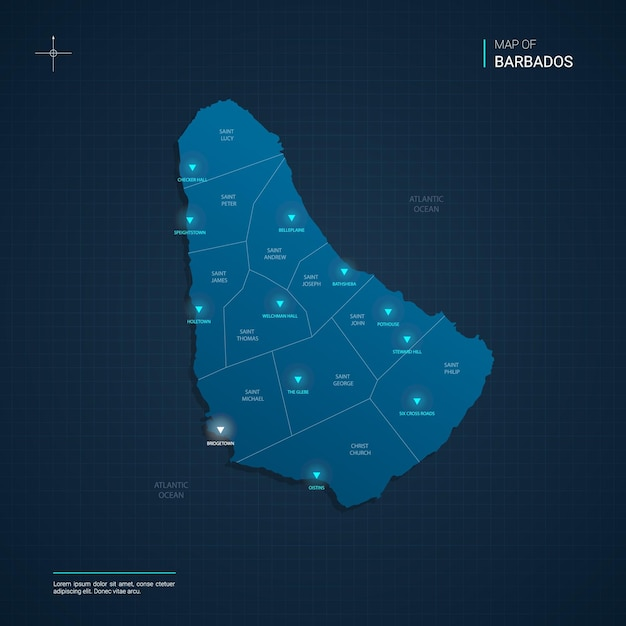 Barbados map illustration with blue neon lightpoints - triangle on dark blue gradient. administrative divisions, cities, borders, capital. Premium Vector