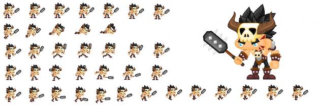 Barbarian game character Premium Vector