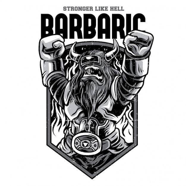 Barbaric robot black and white illustration Premium Vector