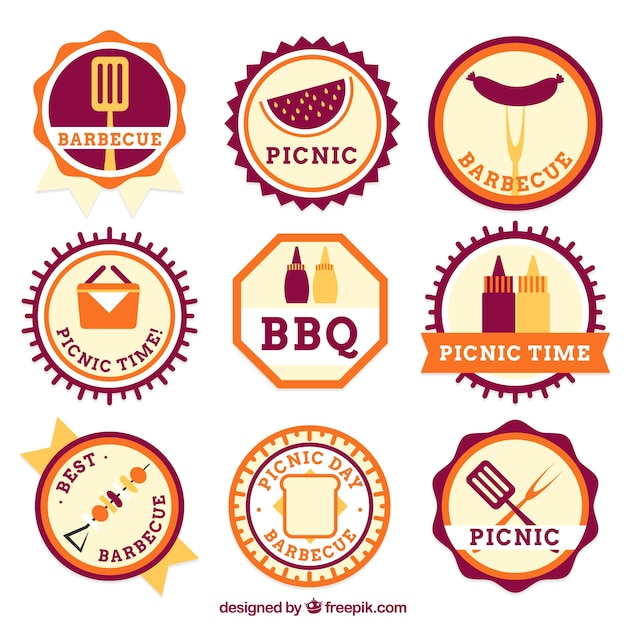 Barbecue and picnic badge set