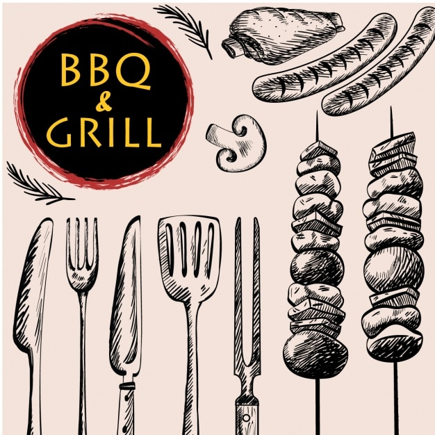 Barbecue background design Free Vector