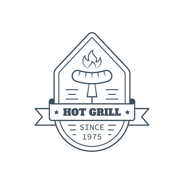 Barbecue badge design, vector line art illustration Premium Vector