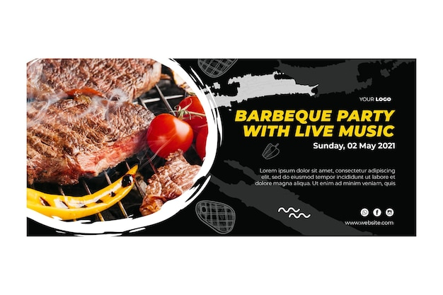 Barbecue banner template Premium Vector