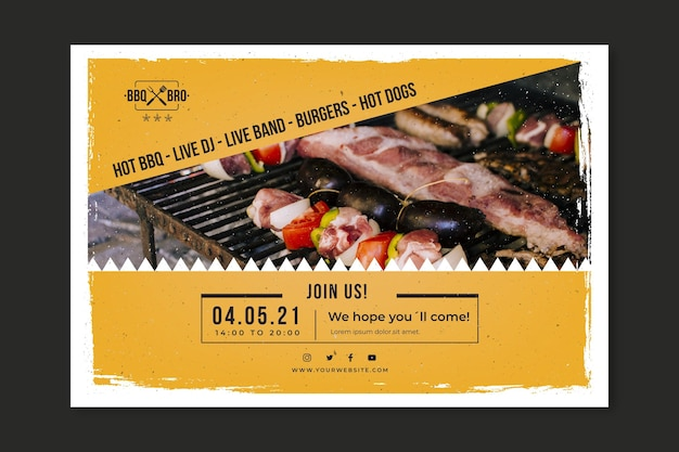 Barbecue banner template Free Vector