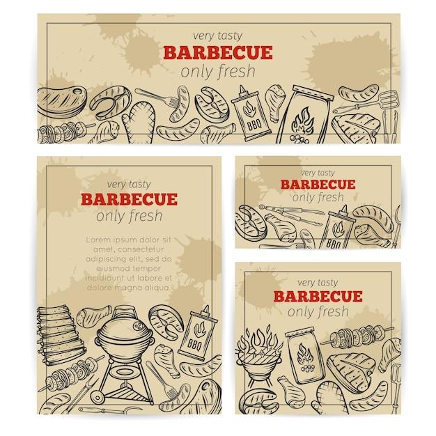 バーベキューバナー。肉、鶏肉、魚、ソーセージ、道具を使ったバーベキューパーティーテンプレート。手描きスケッチイラスト。 Premiumベクター