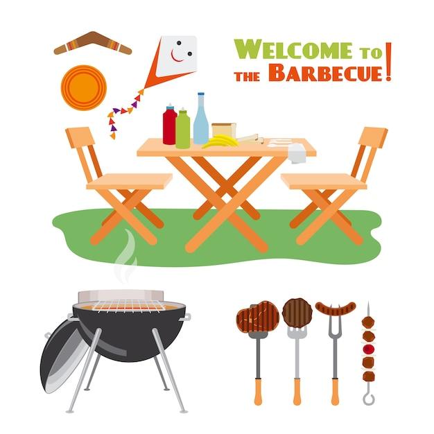 Элементы плаката барбекю барбекю. мясо и гриль, колбаса и кулинария. векторная иллюстрация Бесплатные векторы