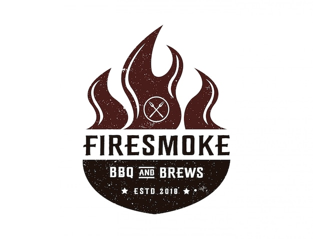 Barbecue and brews logo template Premium Vector