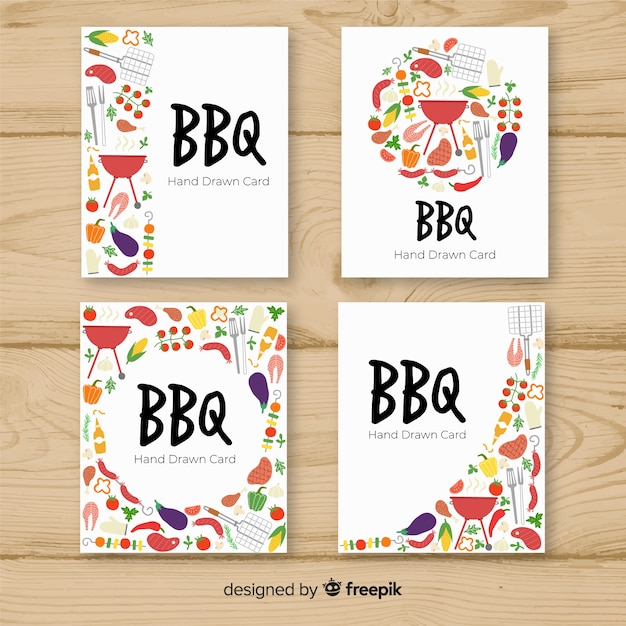 Barbecue card collection Free Vector