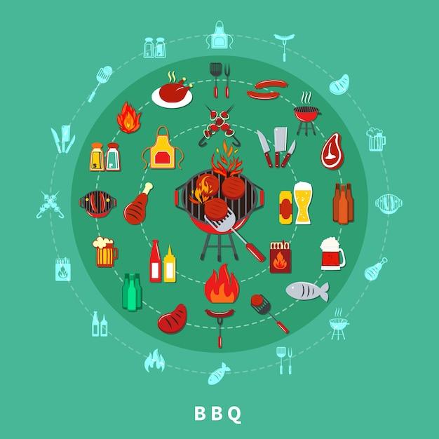 Barbecue circle composition Free Vector