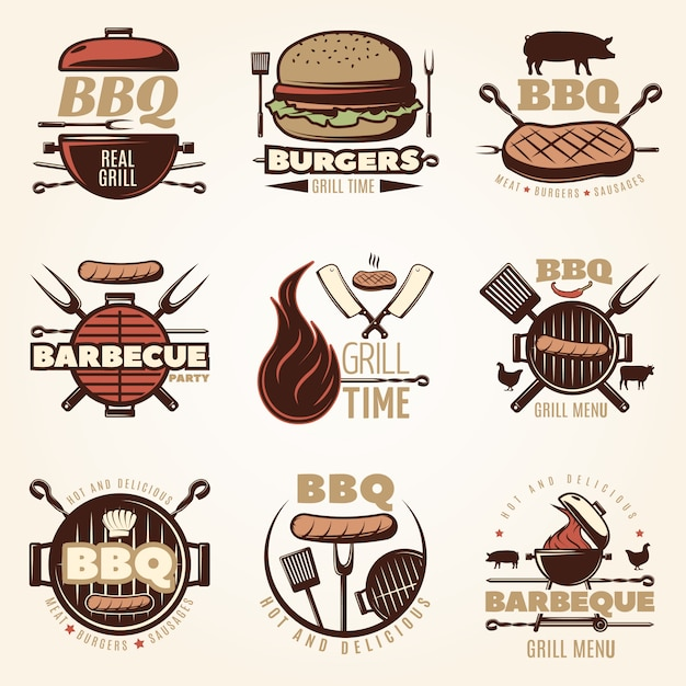 Barbecue colorful emblems set Free Vector