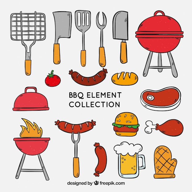 Barbecue elements collection to cook Free Vector