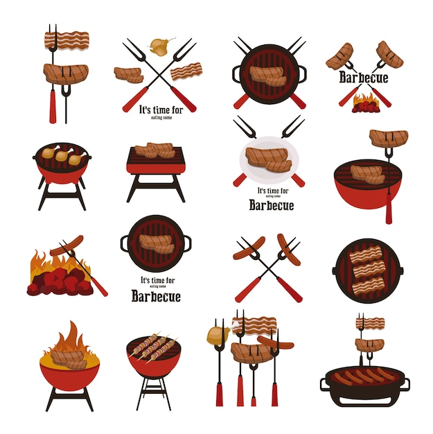 Barbecue elements collection Free Vector