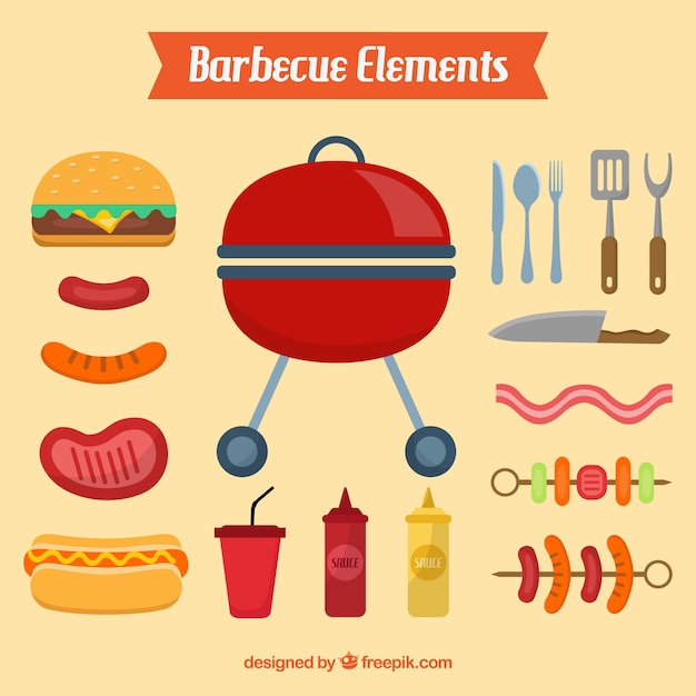Barbecue elements in flat design Free Vector