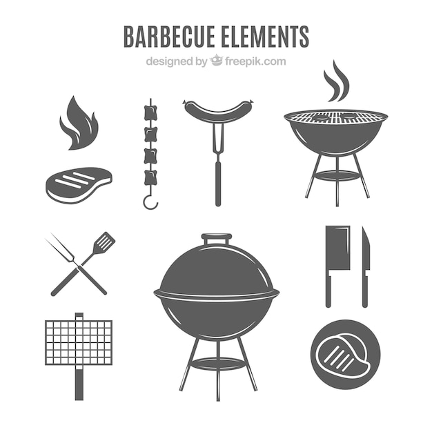 Barbecue elements in grey color Free Vector
