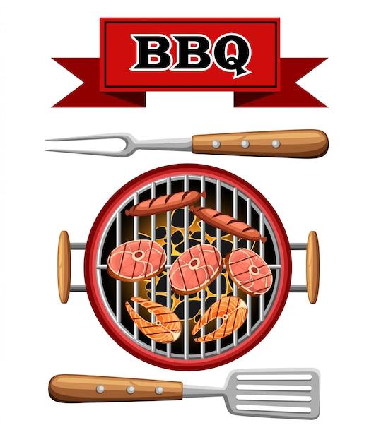 Элементы барбекю гриль вид сверху горящие угли устройство для приготовления пикника барбекю с мясом, рыбой и колбасой иллюстрации на белом фоне страницы веб-сайта и мобильного приложения Premium векторы