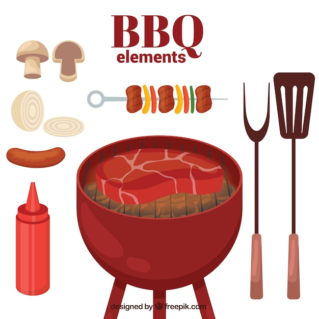 Barbecue elements pack Free Vector