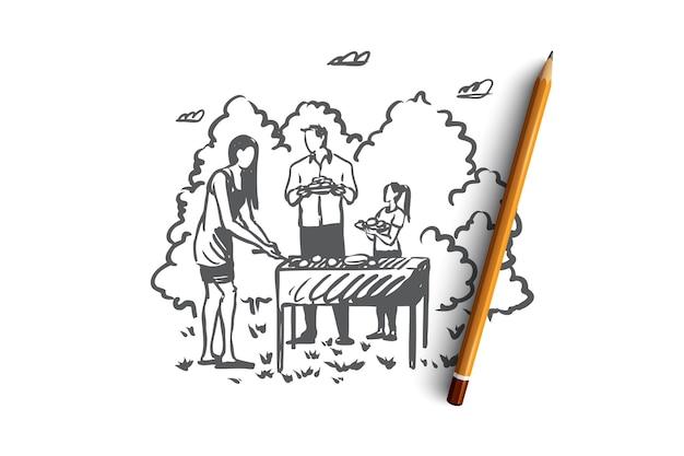 Барбекю, семья, гриль, барбекю, концепция питания. ручной обращается семейное время и открытый концептуальный эскиз барбекю. иллюстрация. Premium векторы