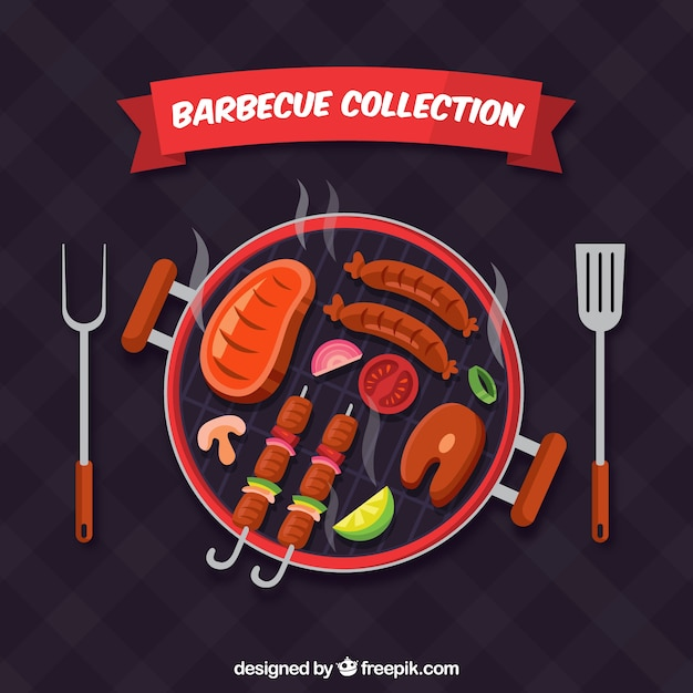 Barbecue in flat design Free Vector