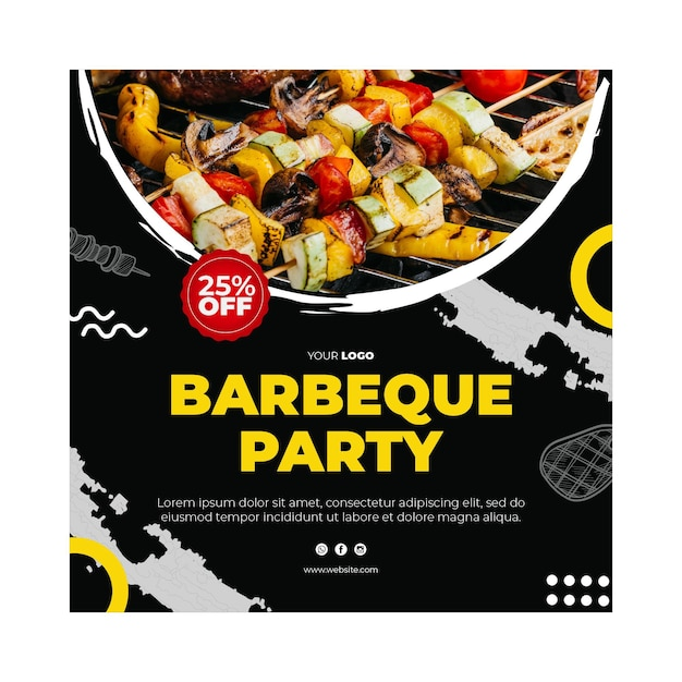 Barbecue flyer square template Premium Vector