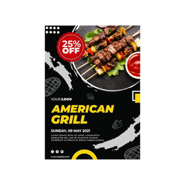 Barbecue flyer vertical template Premium Vector