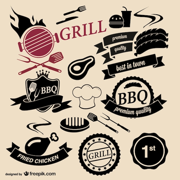 Barbecue grill house logos Free Vector