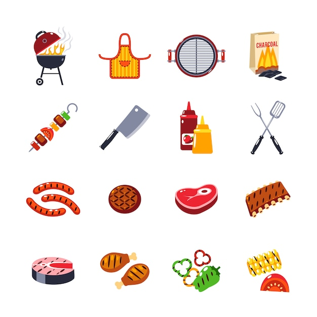 Barbecue and grill icon set Free Vector