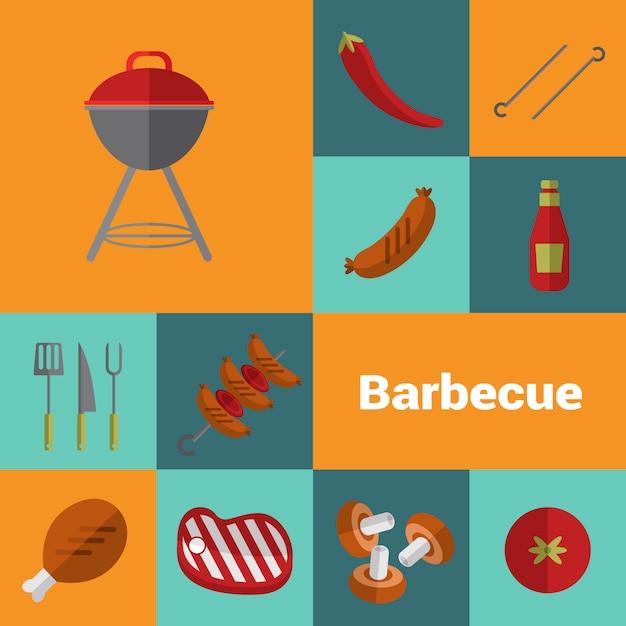 Barbecue grill icons set. bbq concept. Premium Vector