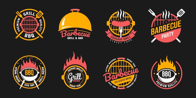 Barbecue and grill labels, badges, logos and emblems Premium Vector