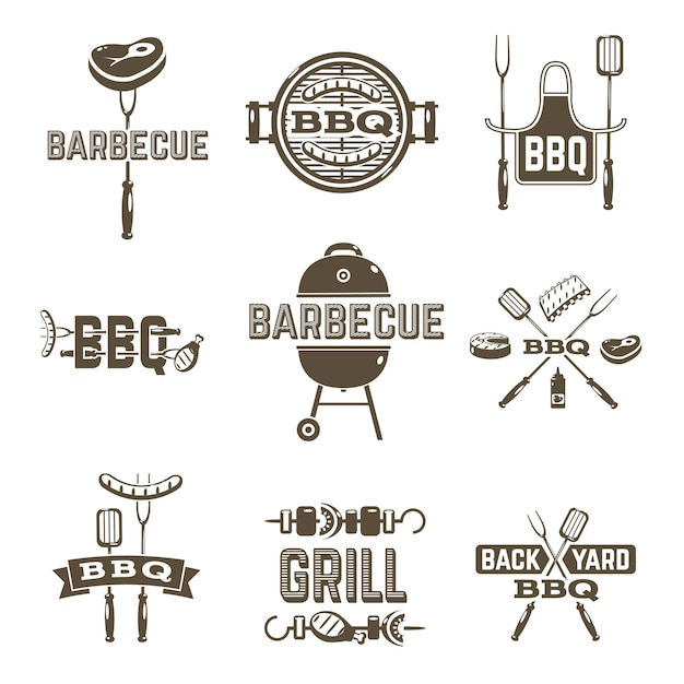 Barbecue and grill labels Free Vector
