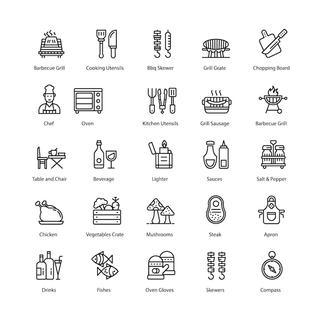 Barbecue and grill line icons pack Premium Vector