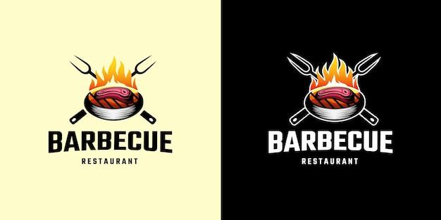 Barbecue the grill logo template Premium Vector