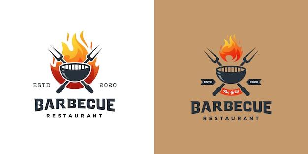 Барбекю гриль логотип Premium векторы