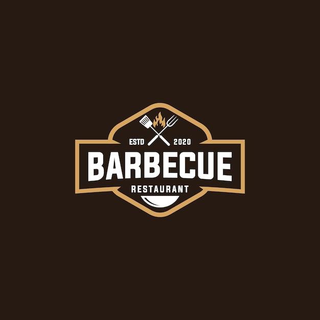 Barbecue grill logo Premium Vector
