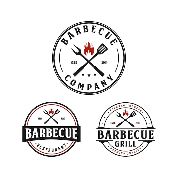 Barbecue grill, steak house vintage logo design Premium Vector