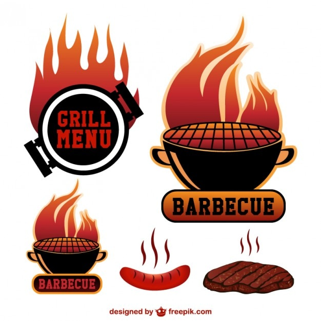 Barbecue grill stickers Free Vector