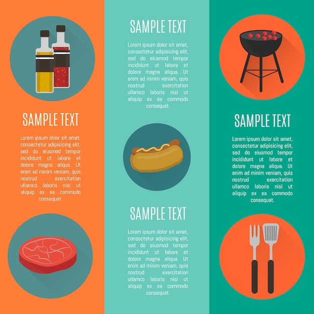 Barbecue grill vertical banners set Premium Vector