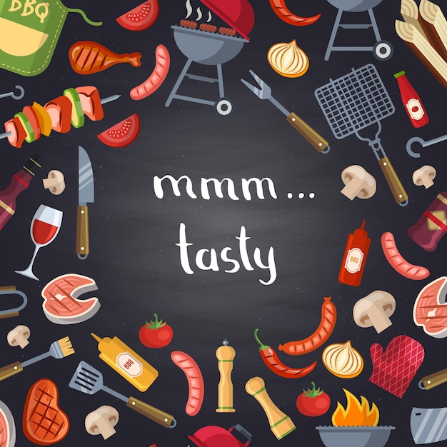 Barbecue or grill with cooking elements on chalkboard. Premium Vector