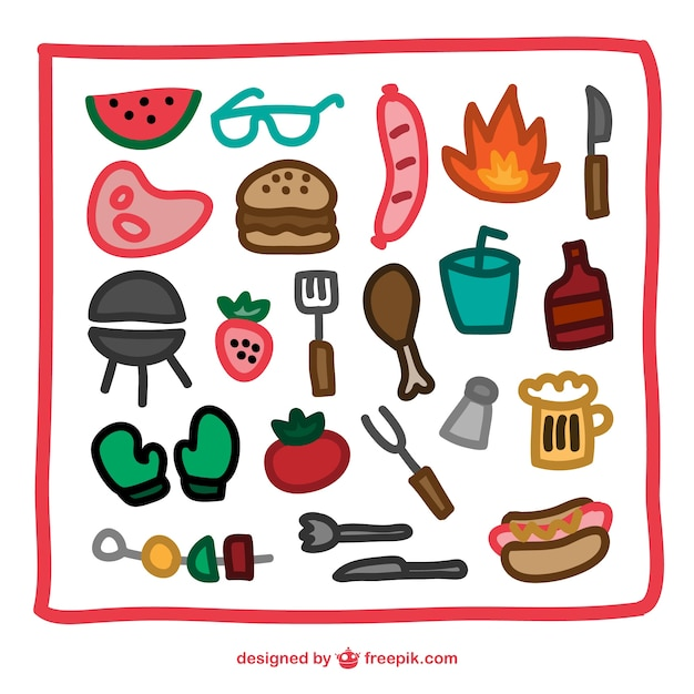 Barbecue hand drawn icons Free Vector