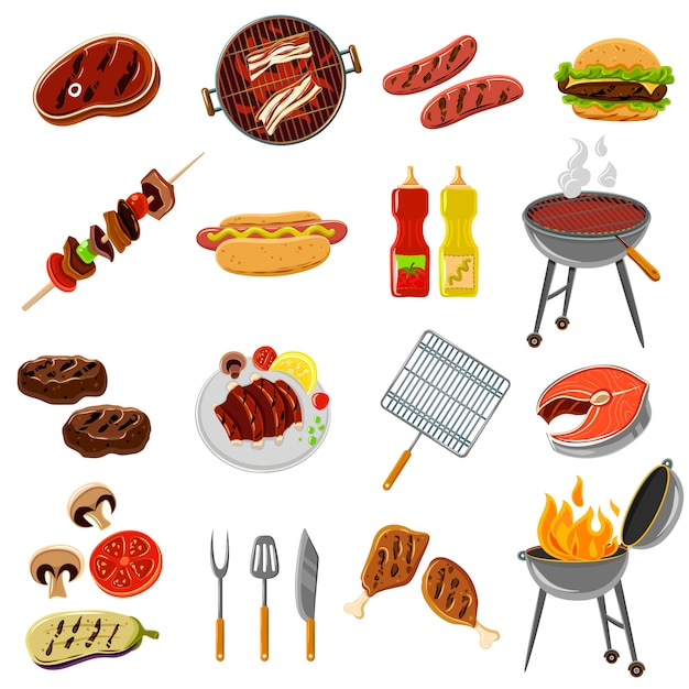 Barbecue icons set Free Vector
